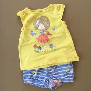EUC-GYMBOREE FLORAL TANK &SHORTS -2T/3T SET